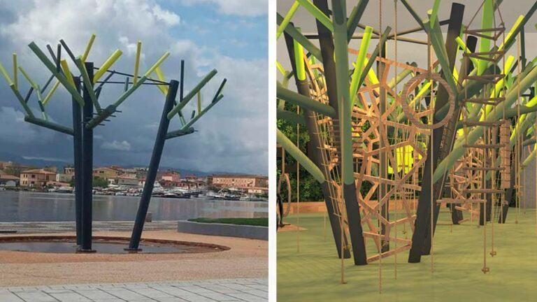 Montati gli attrezzi ginnici in piazza Crispi…e qualcuno li scambia per alberi